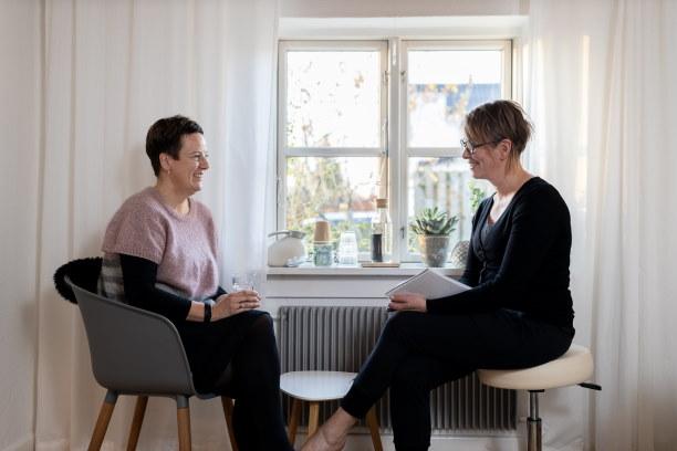 Karriererådgiver Karen Skipper giver karriererådgivning til klient